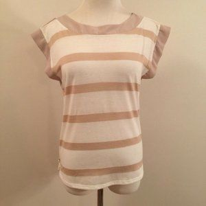 Coldwater Creek Top Shirt Striped Button Back XS